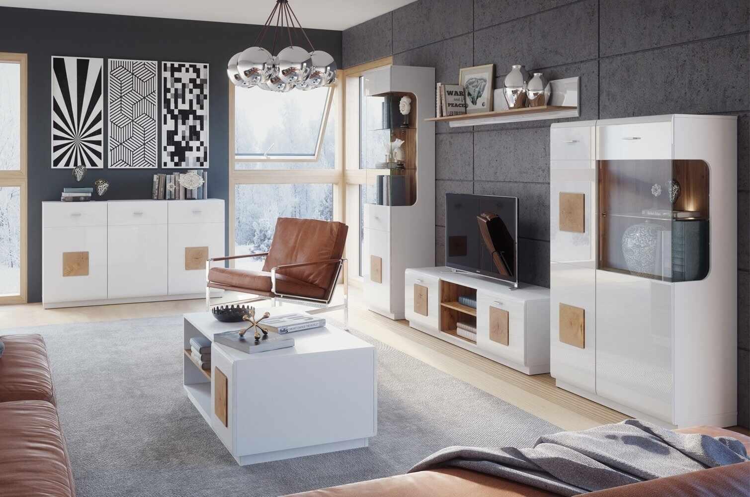 Set de mobila living din pal, 6 piese Wood Alb / Stejar Wotan la pret 4493 lei