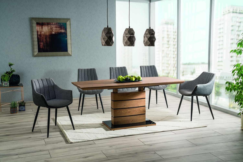 Set masa extensibila din MDF si sticla Leonardo Large Stejar / Negru + 4 scaune tapitate Zoom Gri / Negru + 2 scaune tapitate Bruno Gri / Negru, L160-220xl90xH76 cm la pret 3500 lei