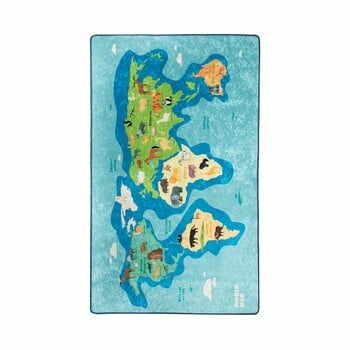 Covor antiderapant pentru copii Chilai Map,140x190cm, albastru la pret 239 lei