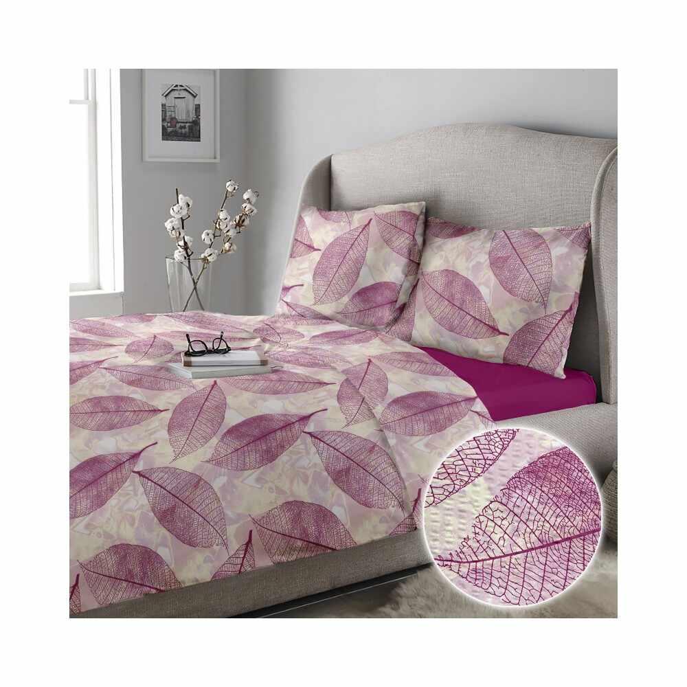 Lenjerie pat matrimonial creponata rosemallow-03-iris-orchid la pret 228 lei