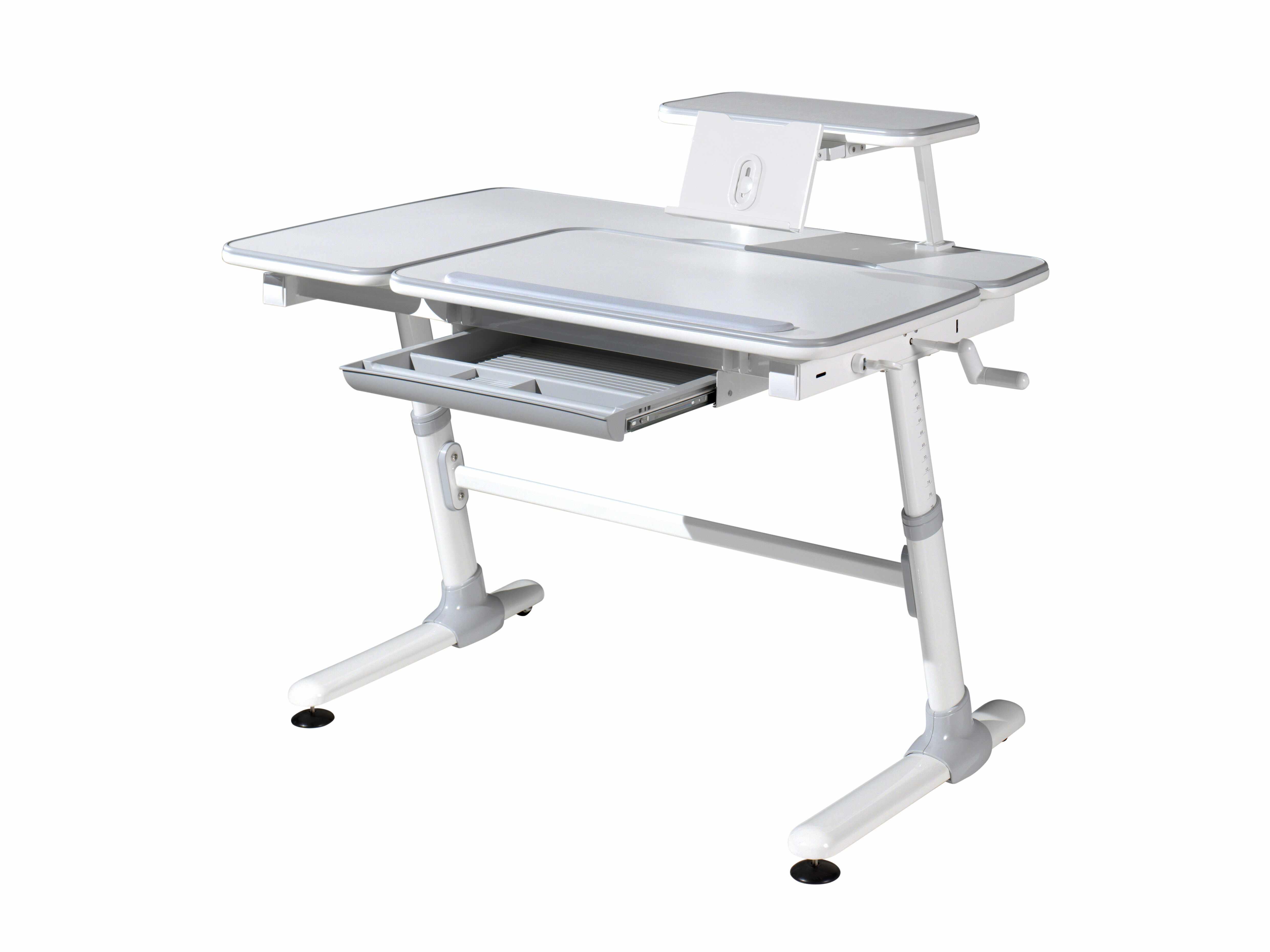 Masa de birou ergonomica cu suport tableta, pentru copii Comfortline Alb / Gri, L119xl73xH56-80 cm la pret 1496 lei