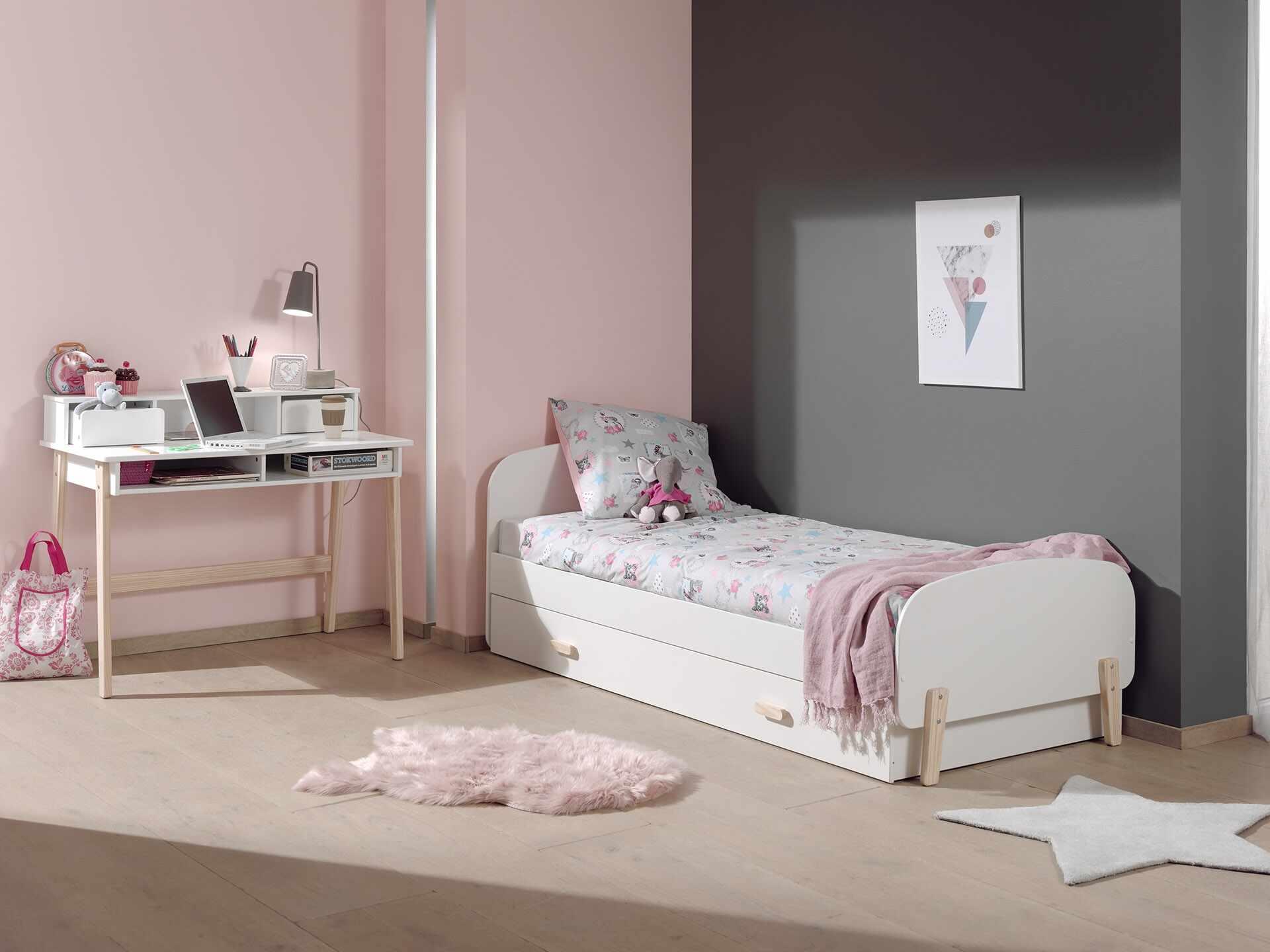 Set Mobila dormitor din lemn de pin si MDF, pentru copii 3 piese Kiddy Alb, 200 x 90 cm la pret 2123 lei