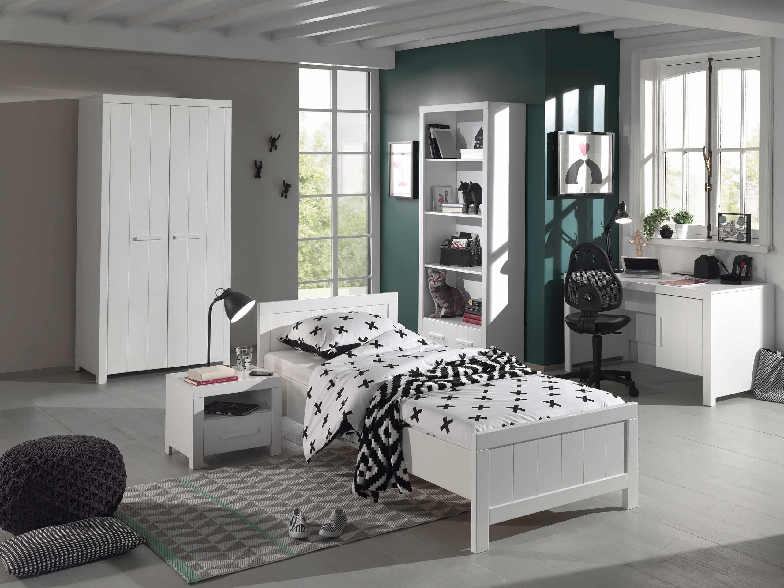 Set Mobila dormitor din lemn de pin si MDF, pentru copii 5 piese Erik Alb, 200 x 90 cm la pret 6596 lei