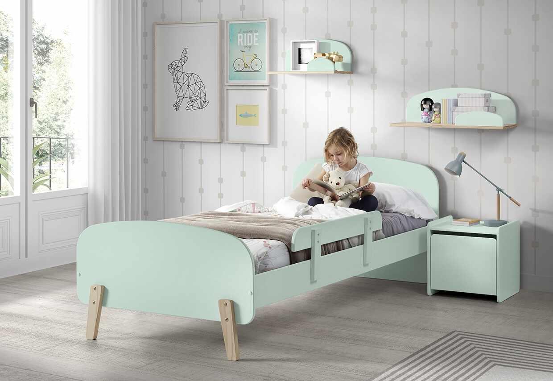 Set Mobila dormitor din lemn de pin si MDF, pentru copii 5 piese Kiddy Verde Mint, 200 x 90 cm la pret 1339 lei