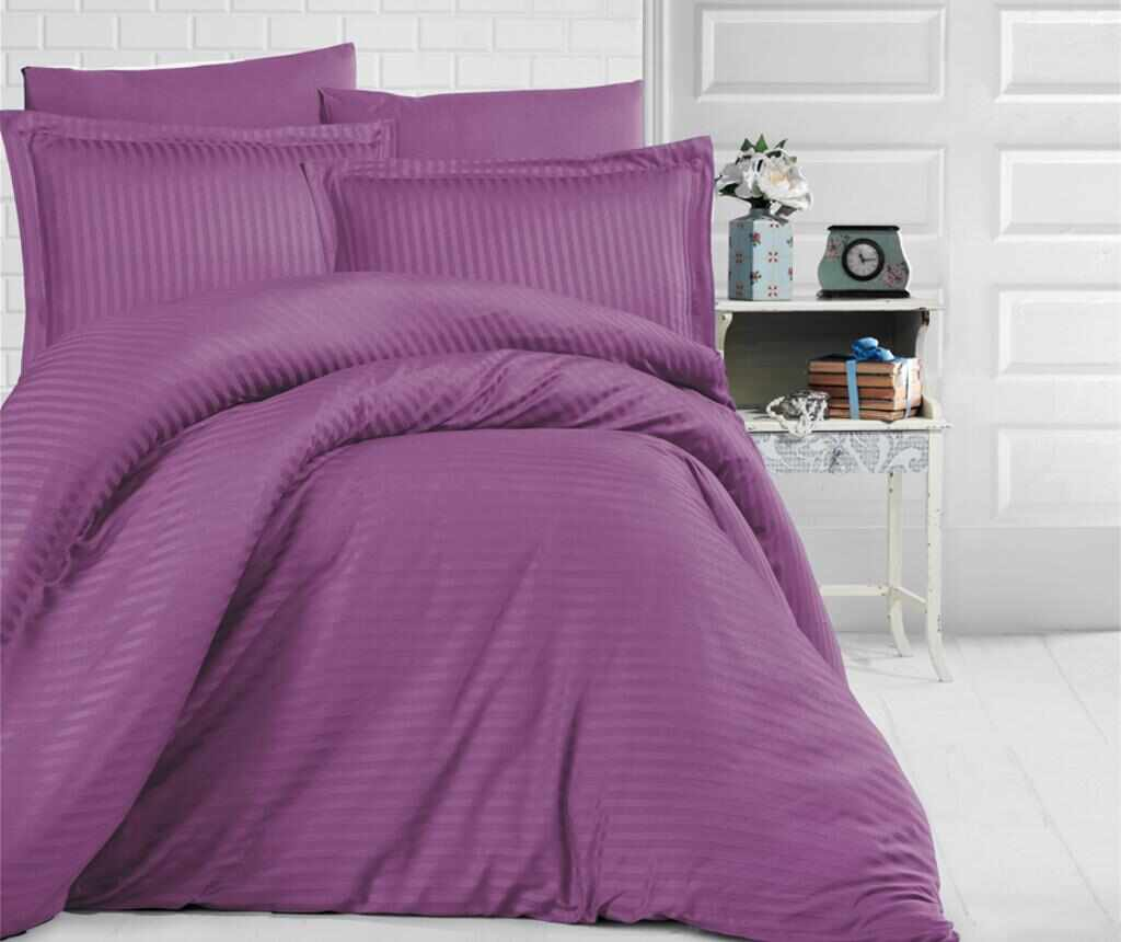 Lenjerie de pat Double Extra Satin Uni Color Purple