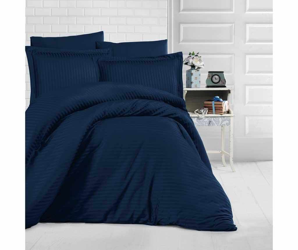 Lenjerie de pat King Satin Supreme Simple Dark Blue la pret 199.99 lei