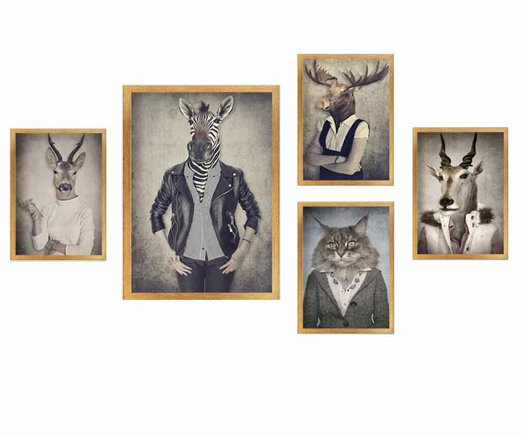 Set 5 tablouri Stylish Animals la pret 179.99 lei