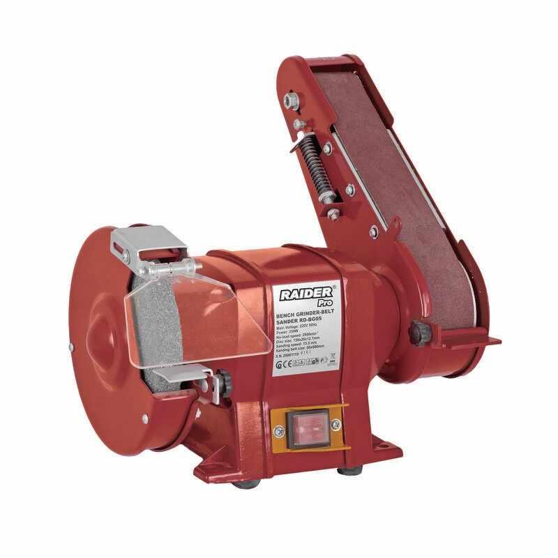 Polizor de banc si slefuitor cu banda Raider, 250 W, 2950 rpm, disc 150 mm, viteza slefuire 15.5 m/s la pret 279 lei