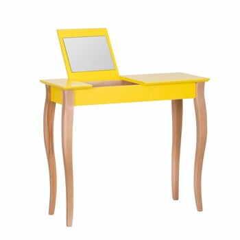 Masă de toaletă cu oglindă Ragaba Dressing Table, lungime 85 cm, galben la pret 714 lei