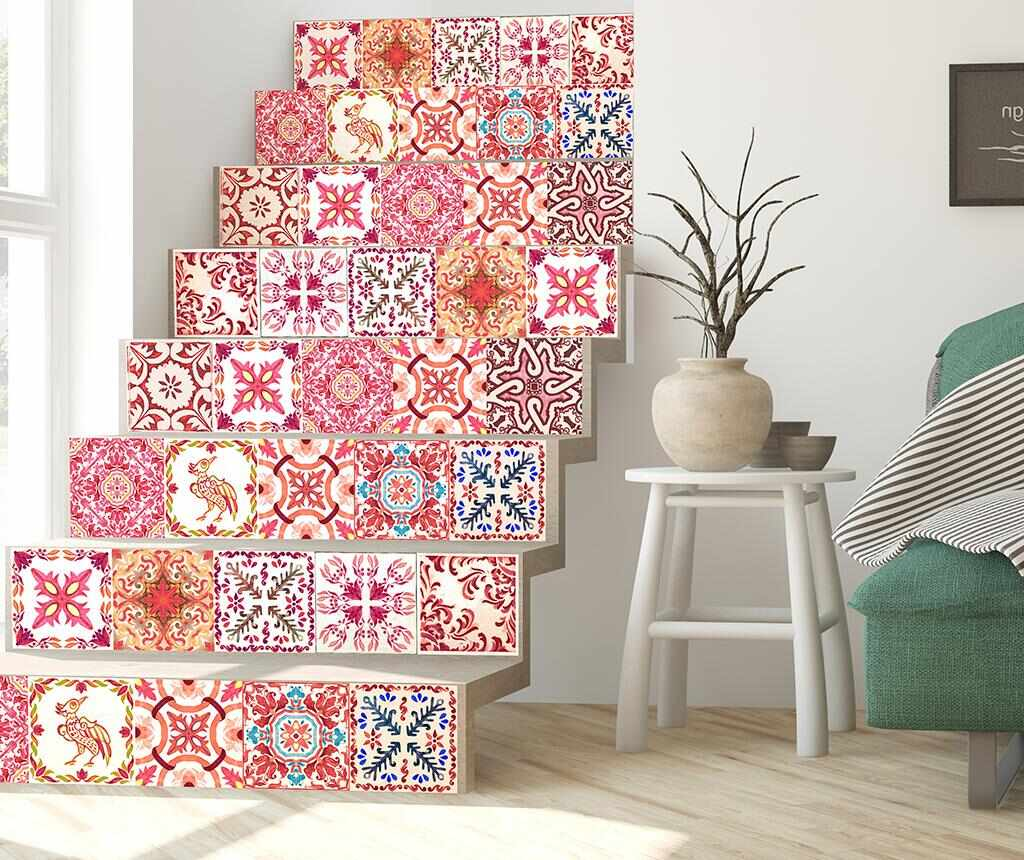Set 24 stickere Tile Morrocan Rose la pret 95.99 lei