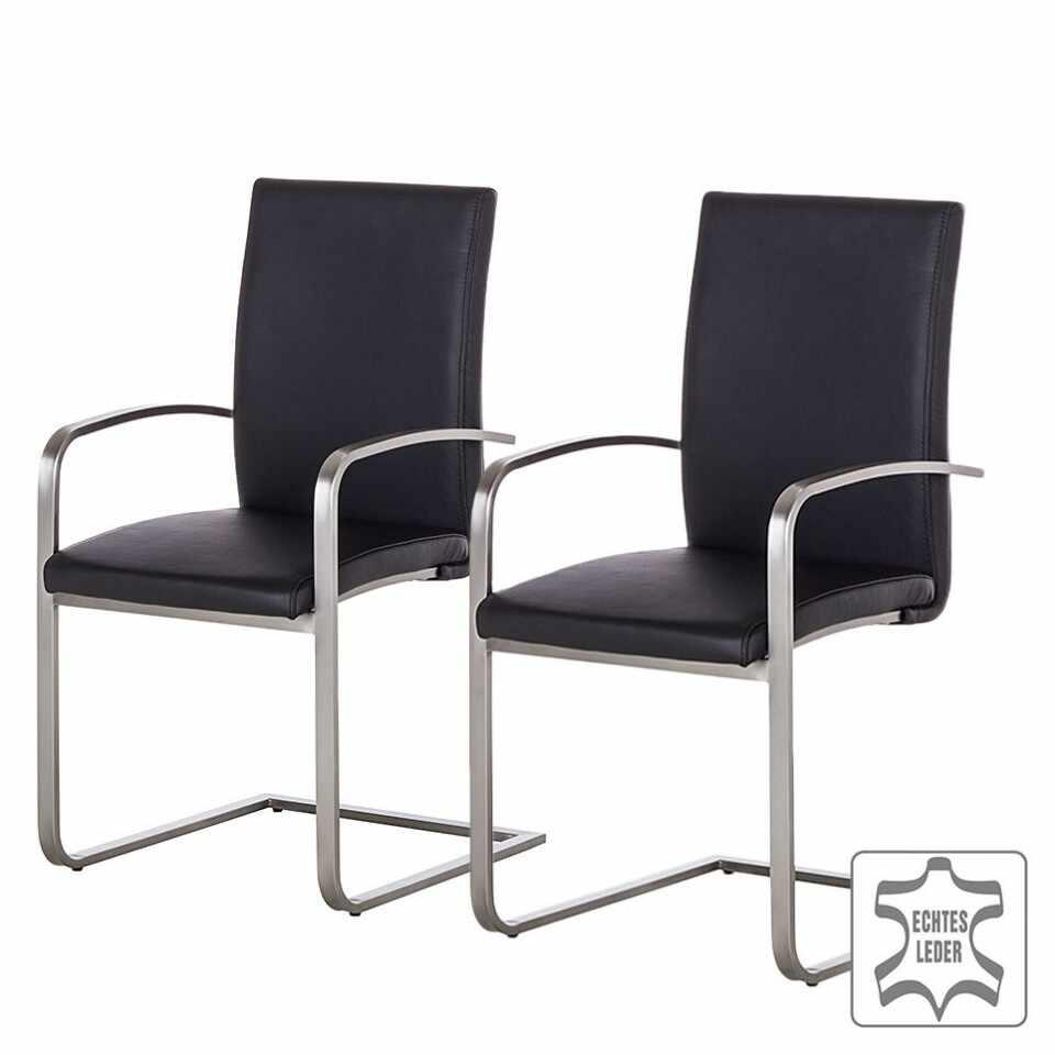Set de 2 scaune Augusta I din piele naturala/otel inoxidabil, negru/argintiu, 44 x 98 x 58 cm la pret 950 lei
