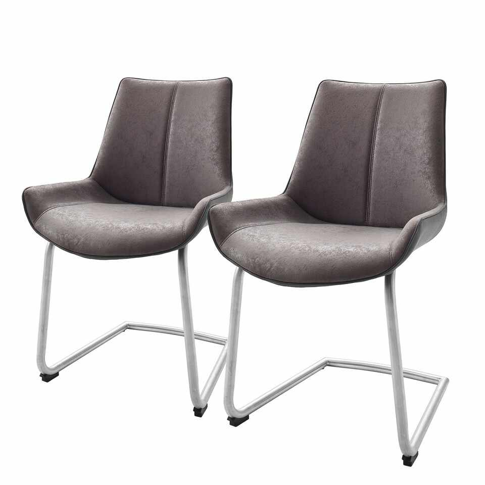 Set de 2 scaune Saval piele sintetica/otel inoxidabil, gri, 54 x 89 x 60 cm la pret 475 lei
