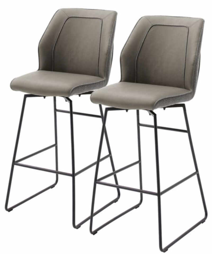 Set de 2 scaune de bar Macapa piele sintetica/tesatura /otel, gri, 46 x 116 x 58 cm la pret 950 lei