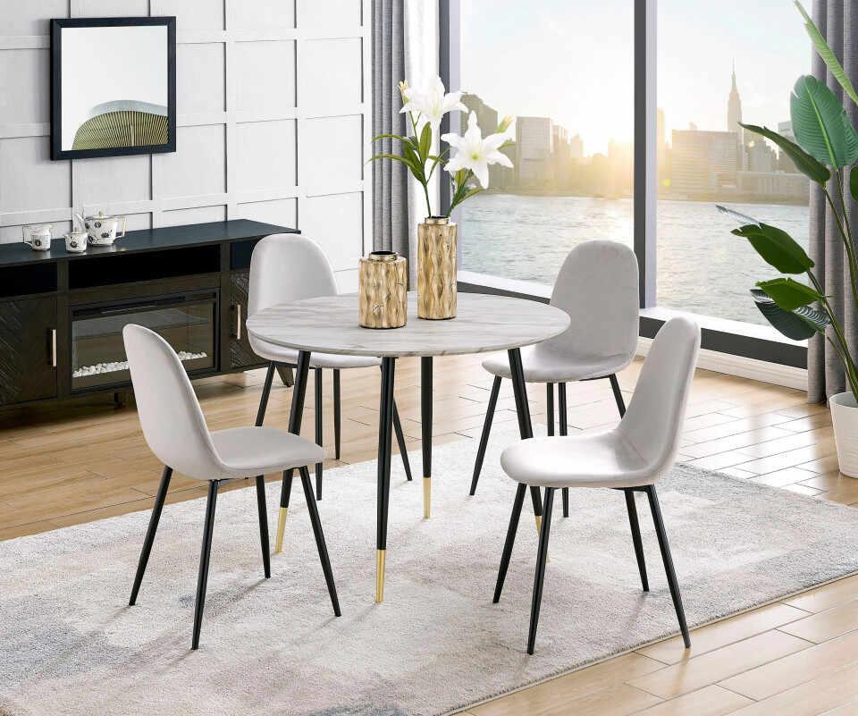 Set de 2 scaune tapitate Monza Eadwine catifea/metal, gri, 44x52x87 cm la pret 360 lei