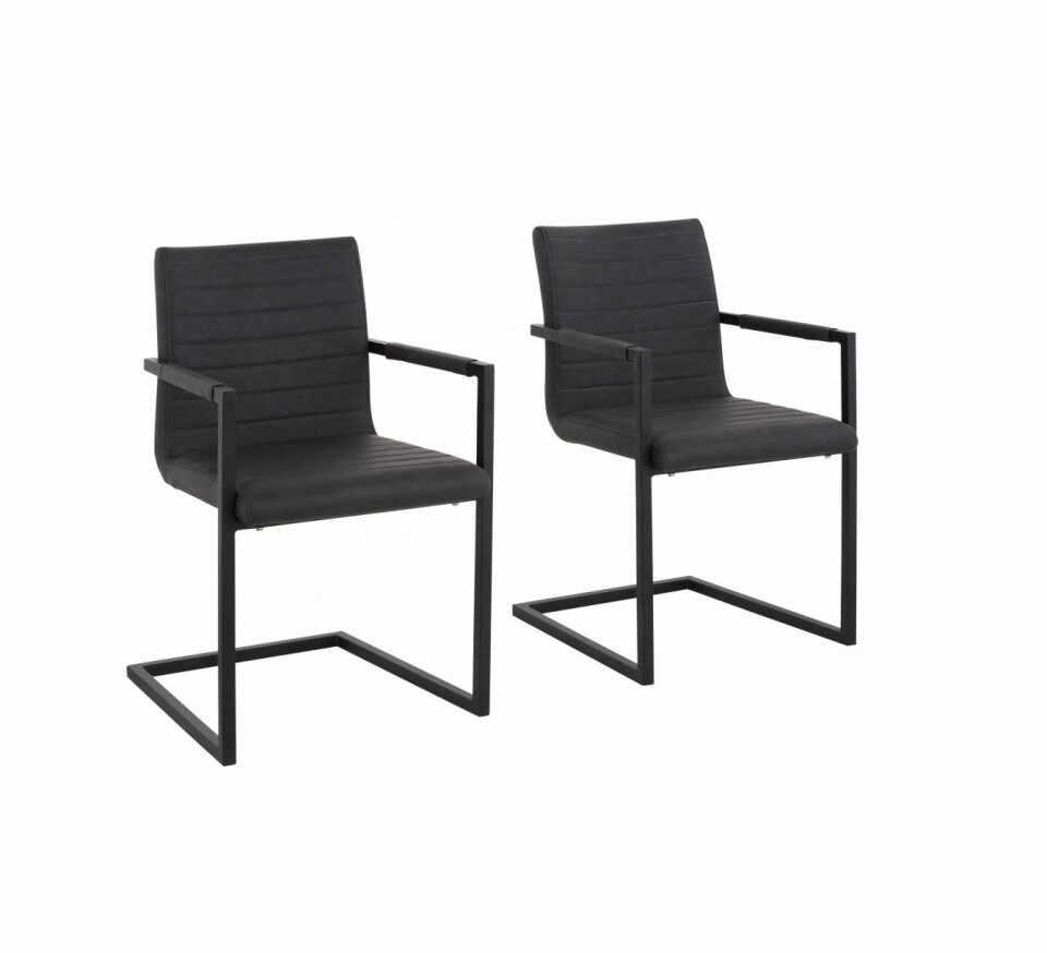 Set de 2 scaune tip fotoliu Sabine piele sintetica/metal, gri, 54 x 59 x 87 cm la pret 750 lei
