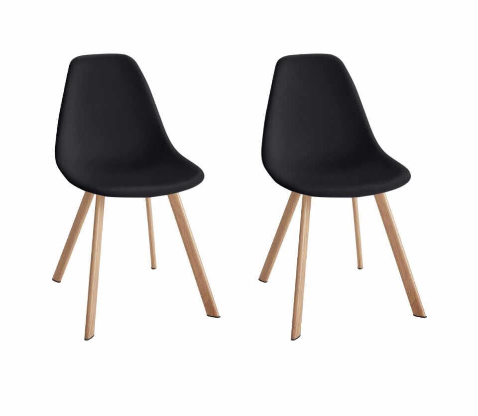 Set de 2 scaune Veneto, plastic/metal, negru/maro, 45 x 54 x 82 cm la pret 360 lei