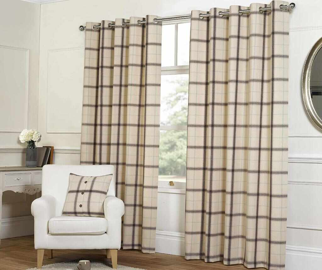 Set 2 draperii Plaid Check Natural 117x183 cm la pret 99.99 lei