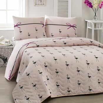 Set cuvertură subțire matlasată și fețe de pernă Flamingo Powder, 200 x 220 cm la pret 207 lei