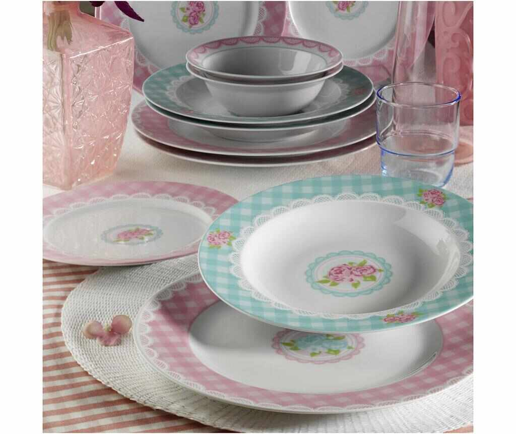 Set de masa 24 piese Checks Rose