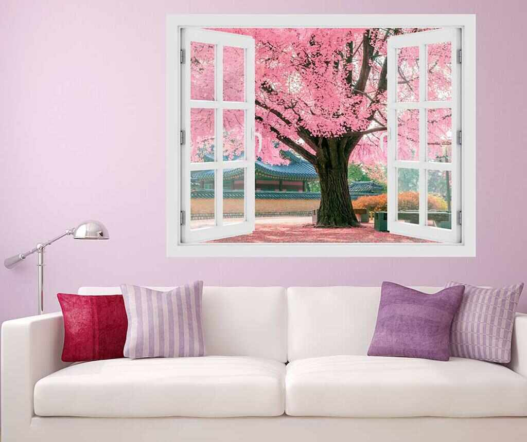 Sticker 3D Window Tree Pink