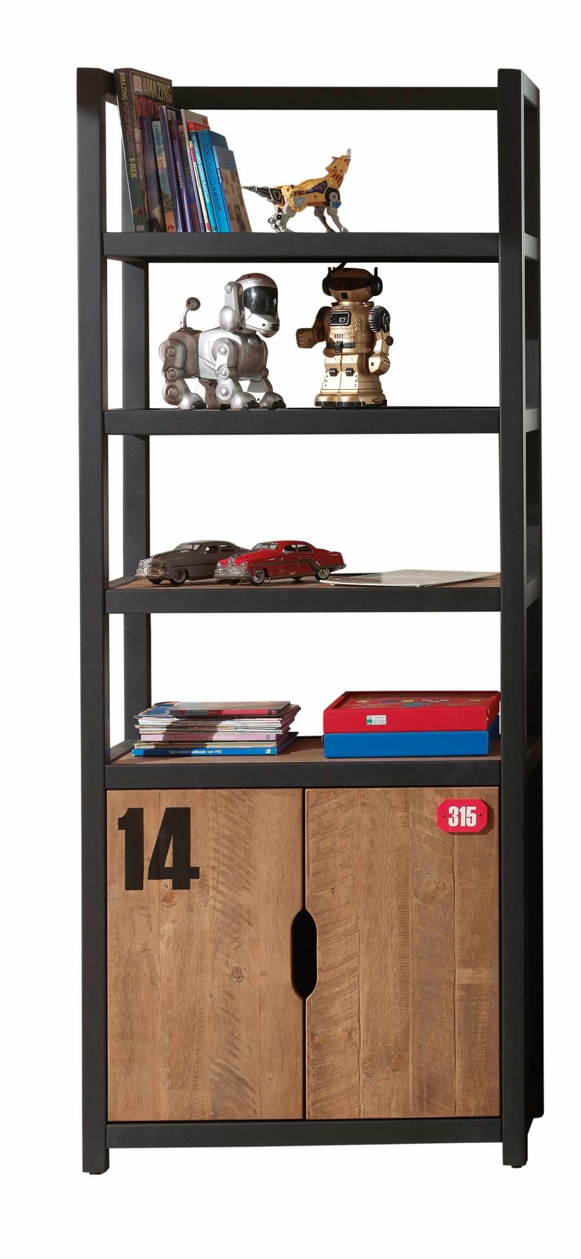 Biblioteca din lemn de pin si MDF cu 2 usi, pentru copii Alex Natural / Negru, l80xA40xH200 cm la pret 2559 lei