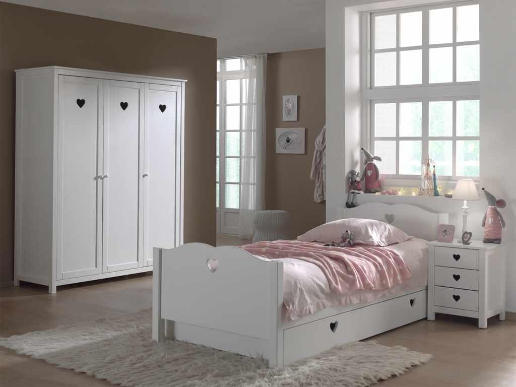 Set Mobila dormitor din lemn de pin si MDF, pentru copii 4 piese Amori Alb, 200 x 90 cm la pret 8542 lei
