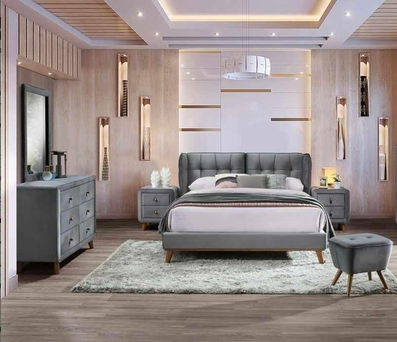 Set Mobila Dormitor tapitat cu stofa, pat 200 x 160 cm, 6 piese Shell Velvet Gri la pret 3859 lei