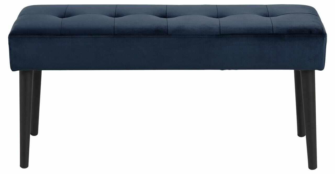 Banca tapitata cu stofa si picioare metalice Glory Velvet Albastru inchis / Negru, l95xA38xH45 cm la pret 317 lei