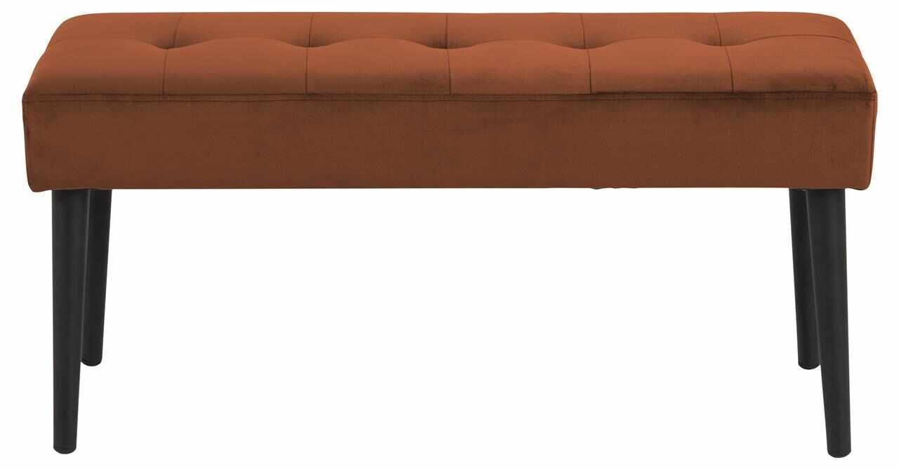 Banca tapitata cu stofa si picioare metalice Glory Velvet Maro / Negru, l95xA38xH45 cm la pret 361 lei