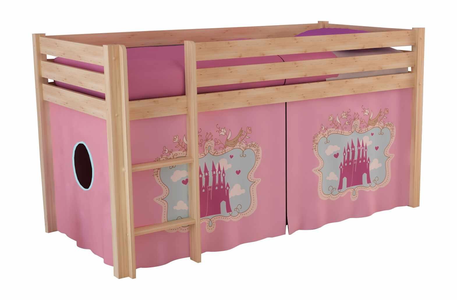 Pat etajat din lemn de pin, cu spatiu de joaca pentru copii Pino Castle Natural, 200 x 90 cm la pret 1509 lei