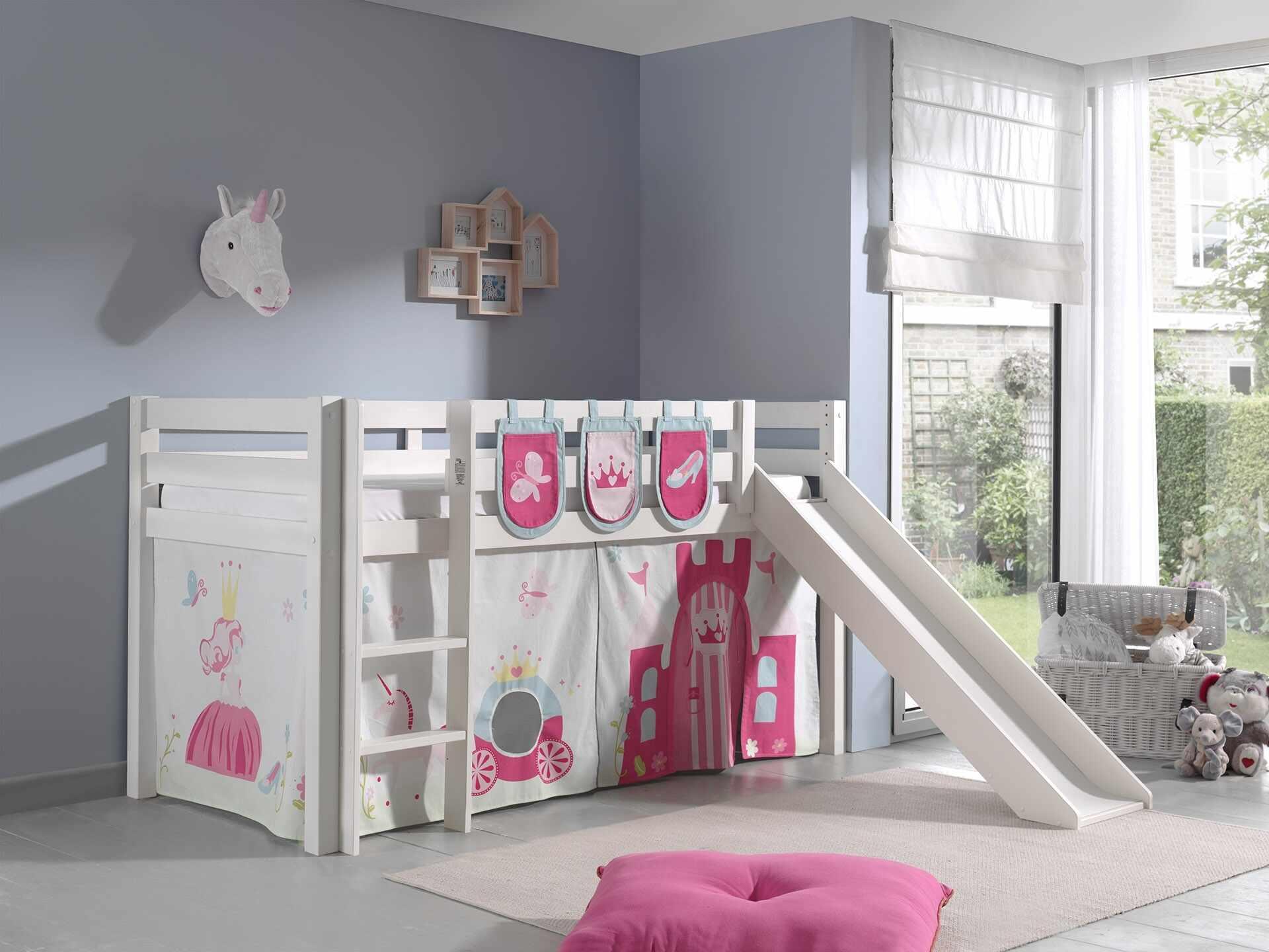 Pat etajat din lemn de pin, cu tobogan pentru copii Pino Plus Princess Alb, 200 x 90 cm la pret 2195 lei