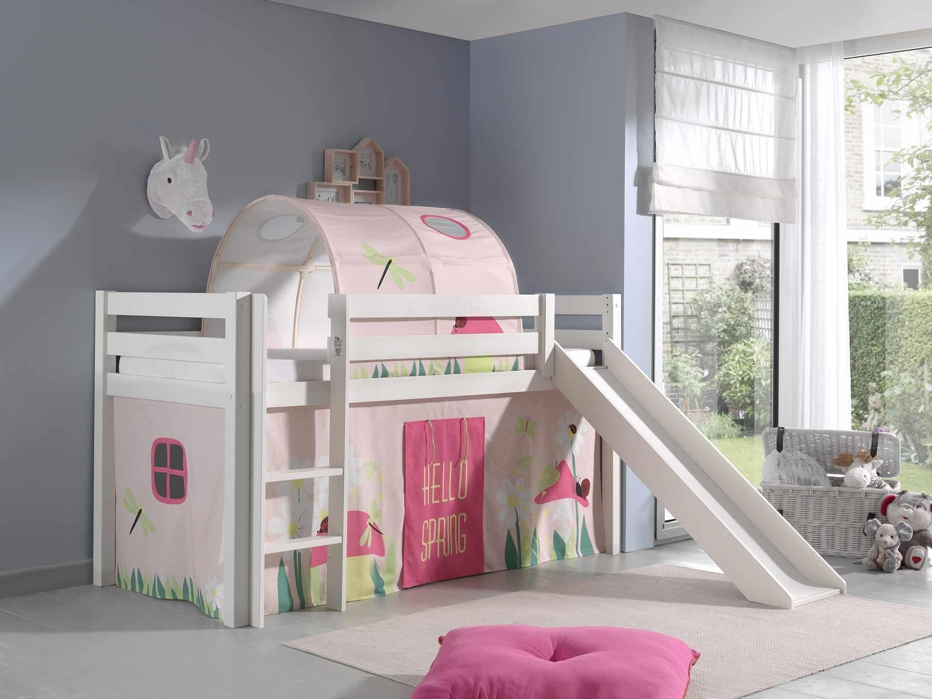 Pat etajat din lemn de pin, cu tunel si tobogan pentru copii Pino Spring Alb, 200 x 90 cm la pret 2383 lei