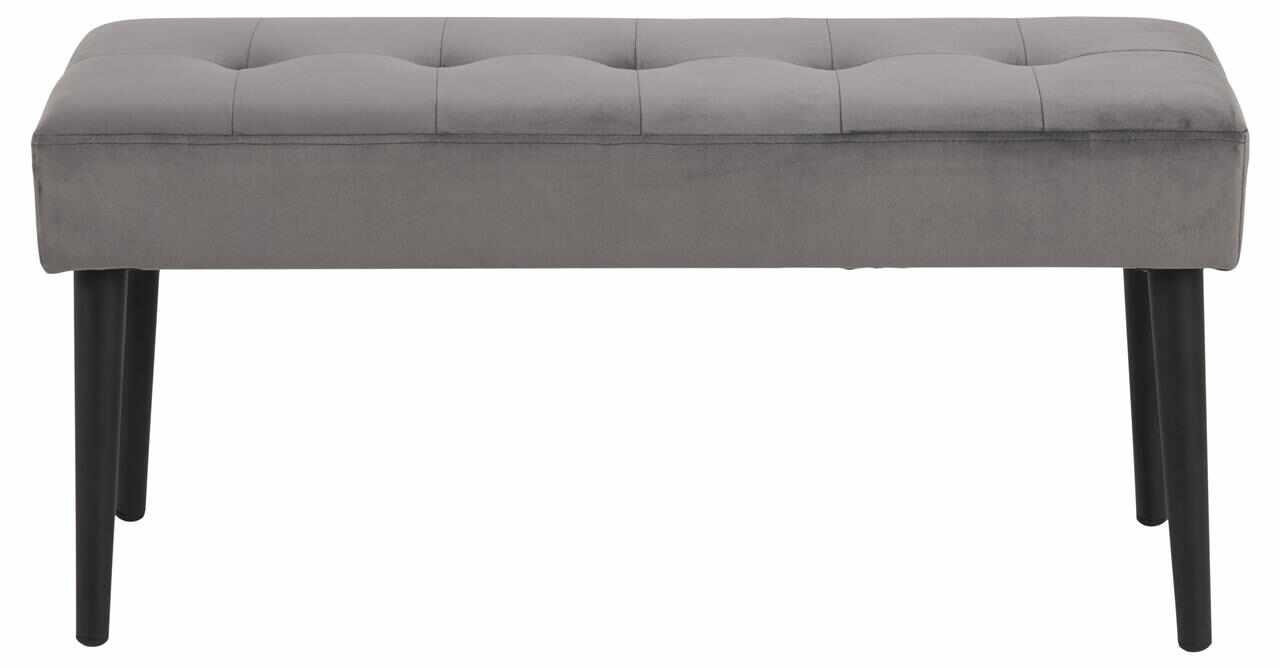 Banca tapitata cu stofa si picioare metalice Glory Velvet Gri Inchis / Negru, l95xA38xH45 cm la pret 281 lei
