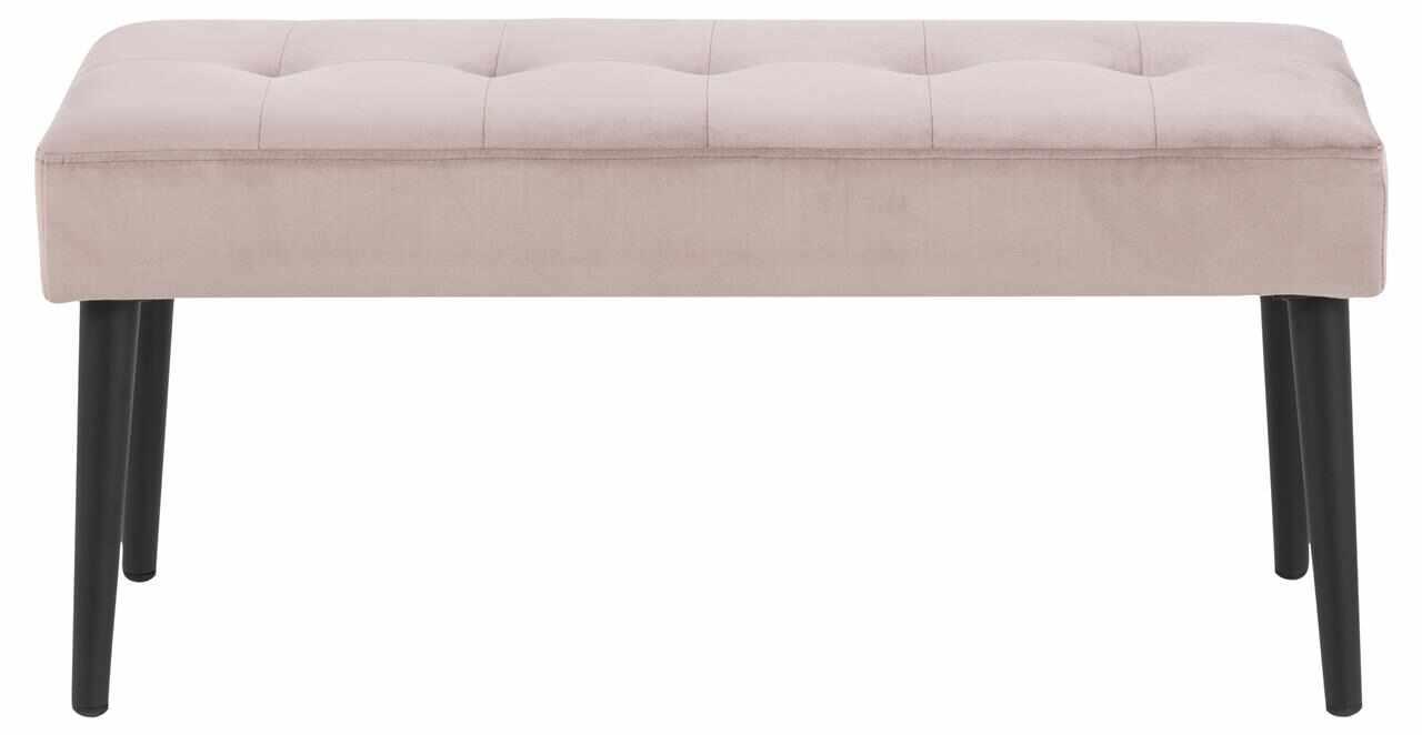 Banca tapitata cu stofa si picioare metalice Glory Velvet Roz Inchis / Negru, l95xA38xH45 cm la pret 317 lei