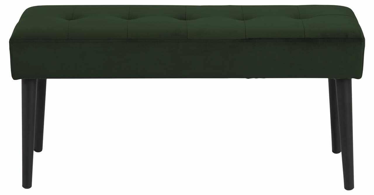 Banca tapitata cu stofa si picioare metalice Glory Velvet Verde / Negru, l95xA38xH45 cm la pret 331 lei