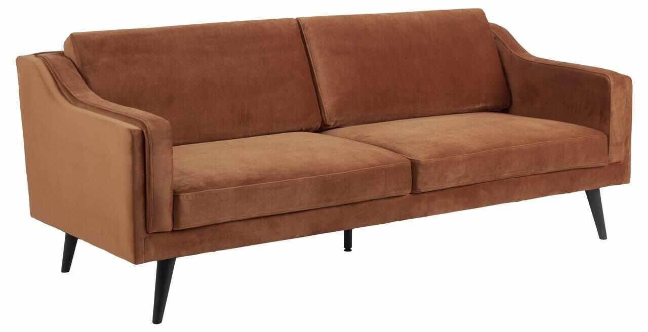 Canapea fixa tapitata cu stofa, 3 locuri Montreal Velvet Caramiziu / Negru, l206xA88xH82 cm la pret 2962 lei