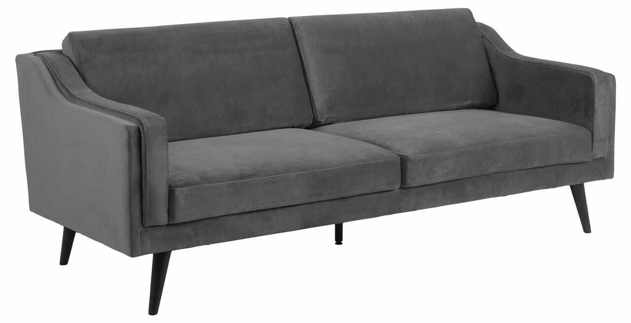 Canapea fixa tapitata cu stofa, 3 locuri Montreal Velvet Gri Inchis / Negru, l206xA88xH82 cm la pret 2878 lei