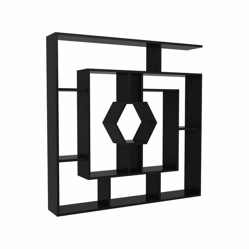 Biblioteca Okane, negru, 134.62 x 134.62 x 22.86cm la pret 490 lei