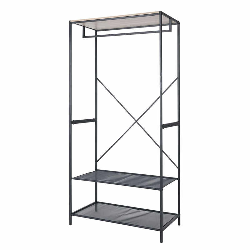 Dulap haine Stand with Shelves, 80 x 40 x 170 cm, 2 rafturi, suport umerase