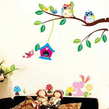Set autocolante Ambiance Owls And Bird Cage On Tree la pret 60 lei