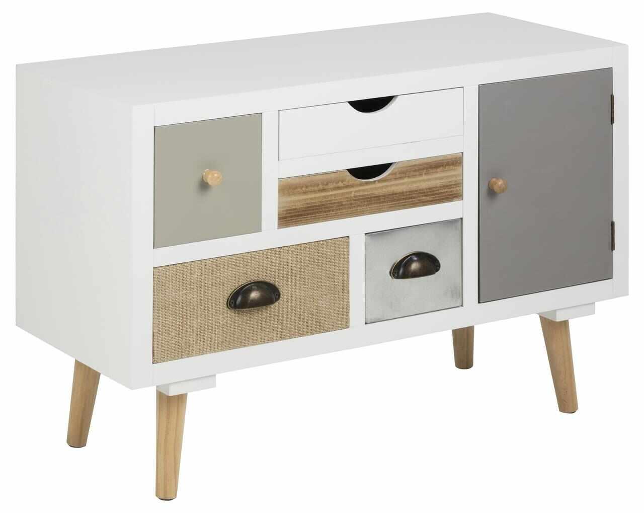 Cabinet din MDF si lemn, cu 5 sertare si 1 usa Thais Multicolor, l81xA34xH55 cm la pret 661 lei