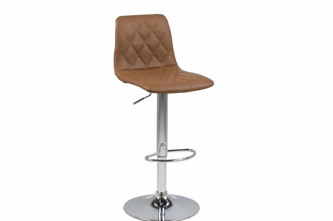 Scaun de bar tapitat cu piele ecologica si picior metalic Emu Maro Deschis / Crom, l40xA48,5xH110 cm la pret 341 lei