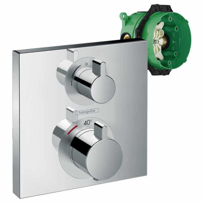Set promo baterie dus termostatata Hansgrohe Ecostat Square cu montaj incastrat, o singura functie + iBox la pret 2090 lei
