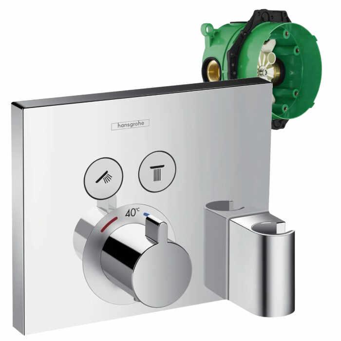Set promo baterie dus termostatata Hansgrohe ShowerSelect cu 2 functii si agatatoare dus, montaj incastrat + iBox la pret 3300 lei