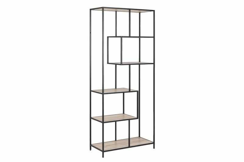 Biblioteca din pal si metal Seaford III Stejar Sonoma / Negru, l77xA35xH185 cm la pret 578 lei