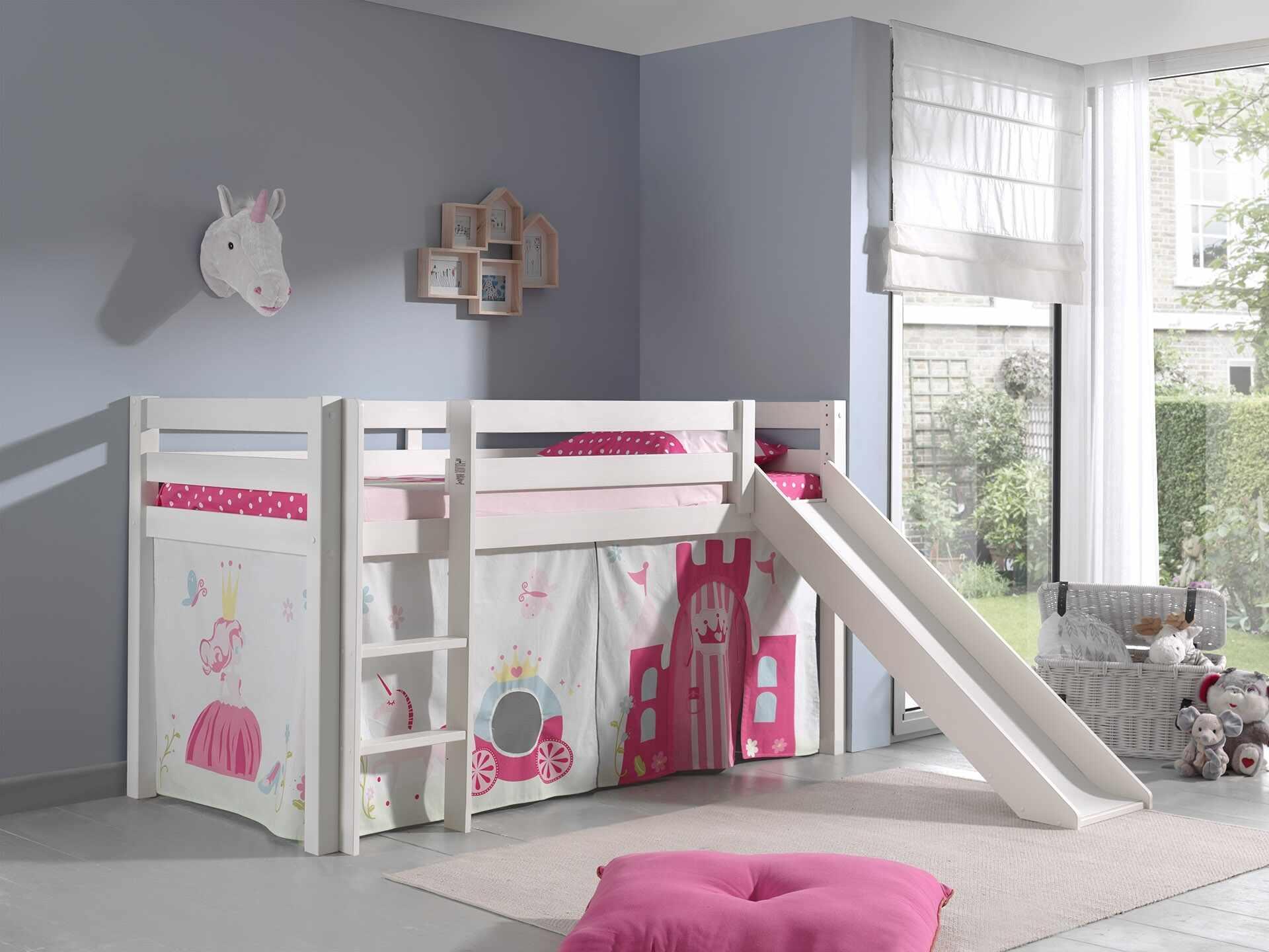 Pat etajat din lemn de pin, cu tobogan pentru copii Pino Princess Alb, 200 x 90 cm la pret 2039 lei