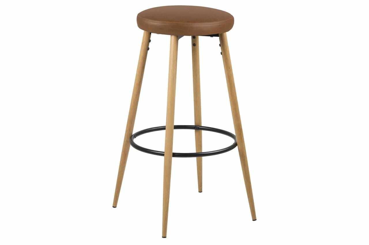 Set 2 scaune de bar tapitate cu piele ecologica si picioare din lemn Hector Maro / Stejar, Ø41xH77 cm la pret 702 lei