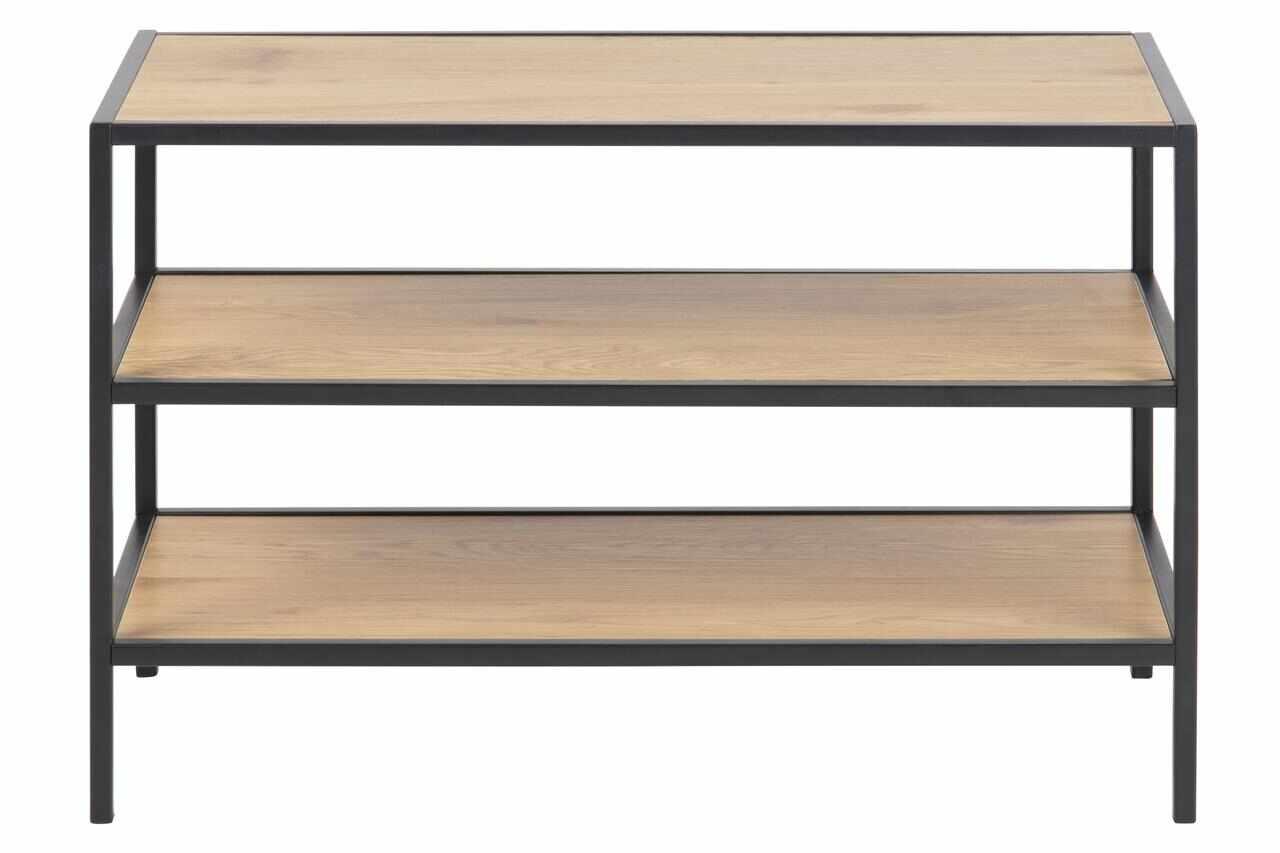 Suport incaltaminte din pal si metal Seaford I Stejar / Negru, l77xA35xH50 cm la pret 311 lei