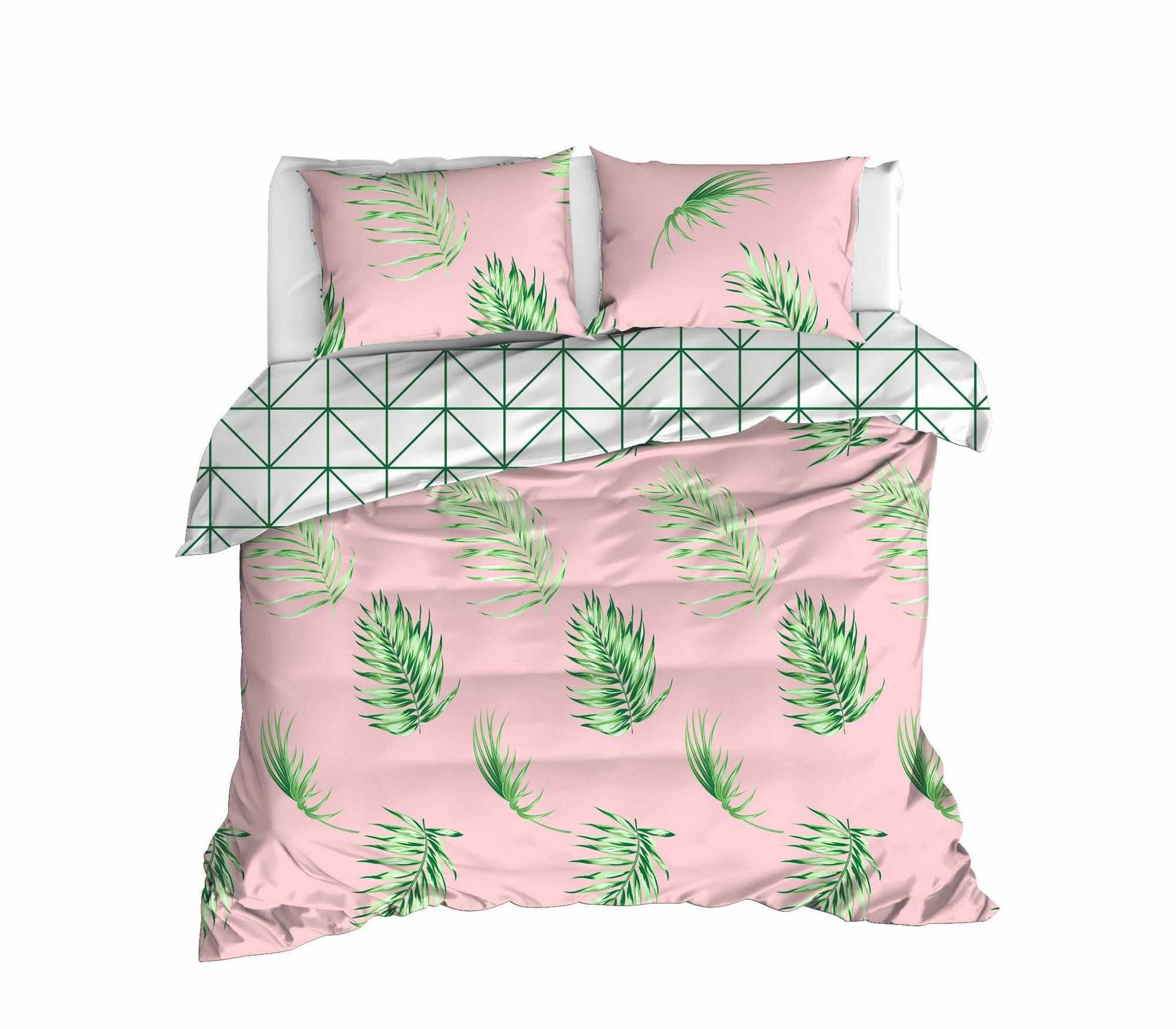Lenjerie de pat din bumbac Ranforce, Barbara Roz / Verde, 200 x 220 cm la pret 183 lei