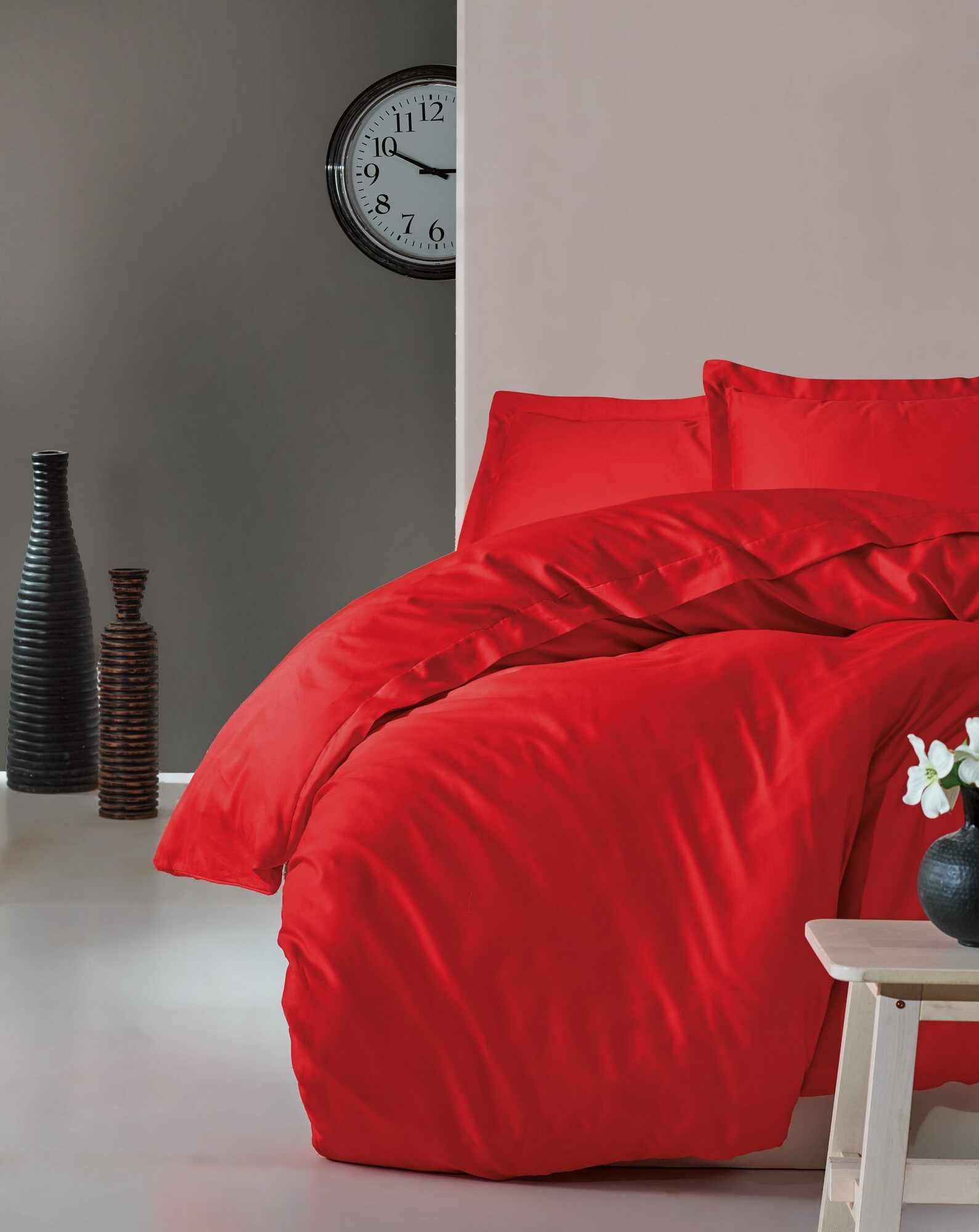 Lenjerie de pat din bumbac Satinat Premium Elegant Rosu, 200 x 220 cm la pret 329 lei